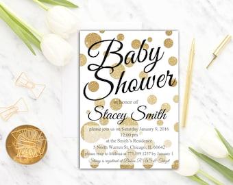 Gender Neutral Baby Shower Invitation White and Gold Baby Shower Invite, Polka Dots Invitation, Gold Glitter, Printable Baby Shower Invite