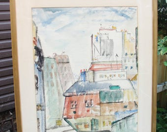 Cityscape on Paper. Vintage Watercolor, Pen and Ink.  Professionally Framed