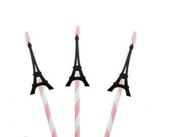 Pink & Black Glitter Eiffel Tower Straws - birthday straws, Paris straws, engagement straws, wedding straws, bachelorette straws