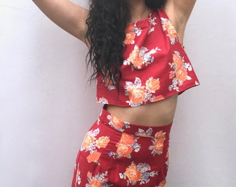 Red floral matching two piece coordinates crop top and pencil skirt handmade by The Emperor's Old Clothes