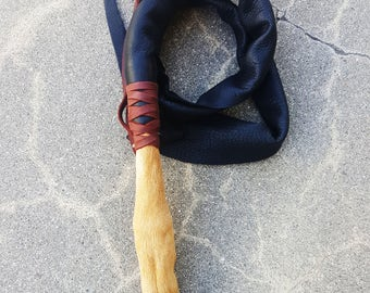"BDSM Deerskin Leather Dragon Tail featuring Taxidermy Deer Leg Handle -  ""The Deer Tail"""