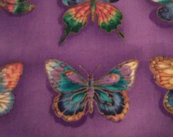 FABRIC BEAUTIFUL BUTTERFLIES And Dragonflies Sits Atop of Purple Background/Timeless Treasures 2000/ A One Yard Piece