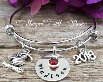 Graduation Bracelet Personalized Graduation Gift 2018 Hand Stamped Graduation Jewelry Custom Unique Custom  Graduate Bracelet 2018