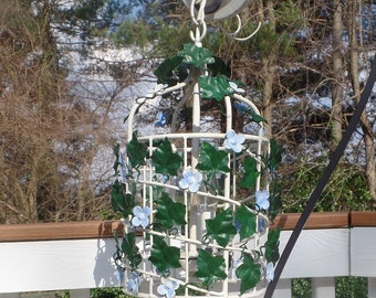 Vintage Tole Chandelier with Ivy Leaves and Blue Flowers- Birdcage Shape Shabby / French
