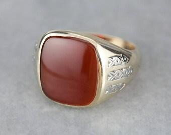 Men's Carnelian Gold Statement Ring, Retro Era Men's Gold Ring 2NDKNK-P