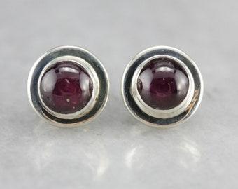 Star Ruby Stud Earrings, Ruby Earrings, Sterling Silver Earrings YFFUHF80-R