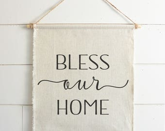 Bless Our Home Hanging Wall Banner // Everyday // Wall Art // Gift  // Pennant // Wall Decor // Housewarming