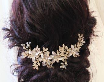 Bridal Headpiece Wedding Hair Piece Bridal Hair Vine Gold Flower Hair Vine  Wedding headpiece Opal  Crystal  Headpiece Bridal Hairpiece