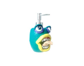 Monster Soap Dispenser with an Attitude, Mixed media and polymer clay soap pump, kids bathroom