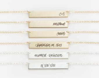 L+L x The Pigeon Letters Handwriting Necklace • Personalized Gold, Silver, Rose Gold Name Bar Necklace, Calligraphy Jewelry • LN155_32_H_pg