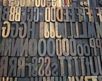 Wood Letterpress Type / Vintage Printing Press Blocks Alphabet and Numbers / Pick Your Letters
