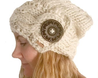 Ivory Chunky Cable Knit Brim Slouchy Hat with Oversize Button, Oversize Fit Winter Hat, Slouchy Beanie with Cable Knit Brim in Cream White