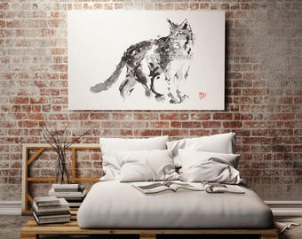 Lynx Painting, Wild Cat poster, Animal Art, Calligraphy Artwork, Sumi-e, Brush Painting, Watercolor, Wall Decor, Wall Art