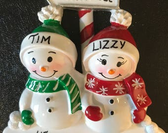 Snowman Family of 2 Personalized Christmas Ornaments