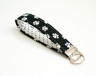 Paw Prints Key Fob - 5 Inch Key Ring Wristlet - Loop Keyring - Cute Key Strap - Short Lanyard - Cat Keychain - Dog Lover - Black and White