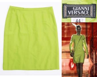 GIANNI VERSACE COUTURE Bright Green Wool Mini Skirt