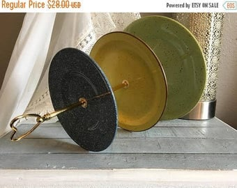 Blue Yellow Green Tiered Plate, Speckled tiered cake plate, throwback dishes, speckled dinnerware, Gold Heart serving ware