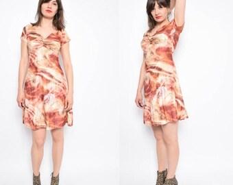Vintage 90's Brown Velvet Dress / Abstract Print Velvet Dress / Midi Velvet Dress - Size Small