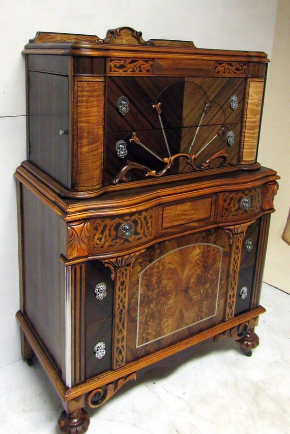 Art Nouveau Highboy Gentleman's Chest of Drawers with two side compartments