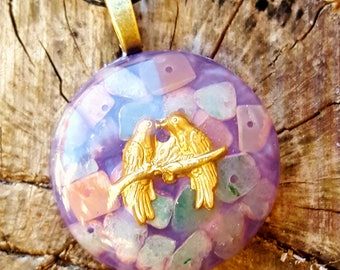 Canoodling Lovebirds Orgone Energy Pendant Necklace
