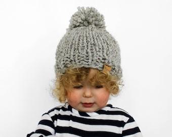 Knit Kids Hat, Child Toddler Beanie Bobble Hat Grey - Little Pokomoke Hat
