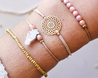 Set of Delicate Golden Ornament Boho Bracelets