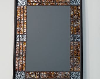 FRAMED Stained Glass Mosaic Mirror, Black, Silver, and Copper