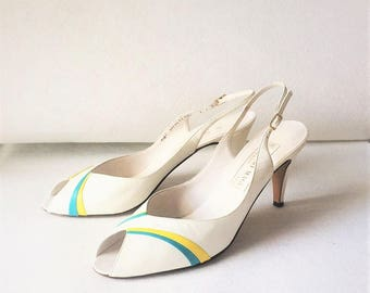 Vintage 70s 80s Bruno Magli White Leather Heels Slingback Peep Toe Shoes Made in Italy Designer Aqua Teal Yellow Stripes Size 7.5 Size 8