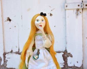 Alice in Wonderland art doll OOAK, paper clay sculpted figure, handmade heritage unique whimsical doll, poseable fairy tale blond puppet.