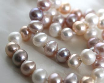 Pearl necklace//Pastel mixed round fresh water pearls