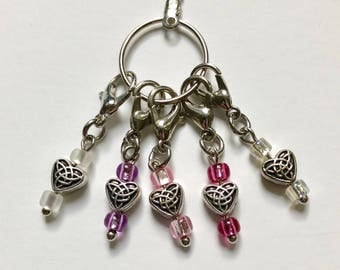 Set/5 Crochet Stitch Markers--Celtic Hearts, Pink/Purple/White