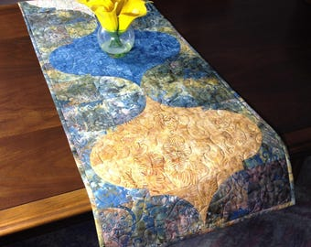 Quilted Tablerunner, Taupe Gold and Slate Blue Batik Table Runner, Handmade Reversible Table Quilt, Moroccan Mofit Tablerunner, Dining Decor