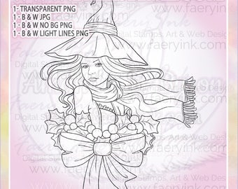 Winter Holly Christmas Witch UNCOLORED Digital Stamp Image Adult Coloring Page jpeg png jpg Craft Cardmaking Papercrafting DIY