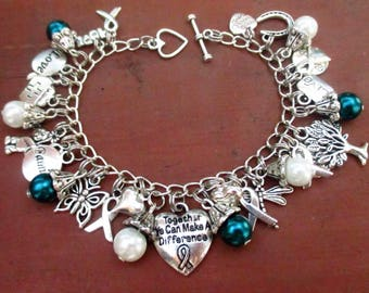 NEW Teal and White Awareness Together We Can Make a Difference Charm Bracelet Cervical Cancer