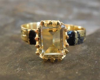 Victorian Style Emerald Cut Citrine Ring - Vermeil (Gold & Sterling Silver)