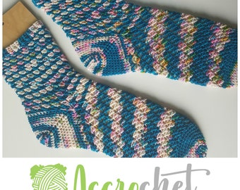 Crashing Waves - Crochet Sock Pattern - Self Striping Sock Crochet Pattern - Socks Stripes Crochet Pattern - Easy Crochet Sock Pattern