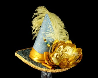 Teal and Gold Flower and Plume Mini Witch Hat, Halloween, Festival Hat, Derby Hat
