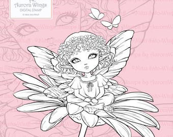 PNG Digital Stamp - Daisy Elf - Big Eye Fairy with Floral Wreath Sitting on Daisy - Fantasy Line Art for Cards & Crafts by Mitzi Sato-Wiuff