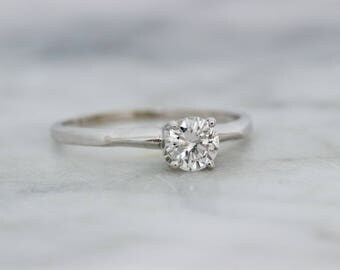 Vintage Engagement Ring | Simple Diamond Engagement Ring | 14k White Gold Wedding Ring | Mid Century Diamond Solitaire Ring | Size 7