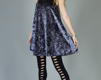 Mock Neck Crushed Velvet Swing Dress, Slate Blue Gray