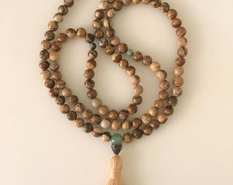 Picture Jasper Mala Necklace with Tassel 108 Beads