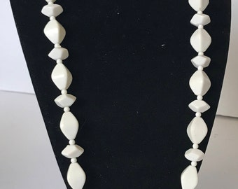 Beautiful Milk White Plastic Vintage necklace