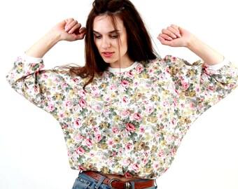 80's Romantic Blouse / Floral Blouse / Floral Jumper / Rose Print Top / Pastel Blouse / Casual Jumper / Cotton Blouse /