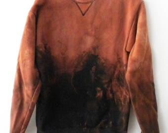 Black Sweatshirt, acid wash sweatshirt, dip dyed, crewneck sweatshirt, jumper, Sweater, Grunge. retro, tie dye, trending fashion, styleon