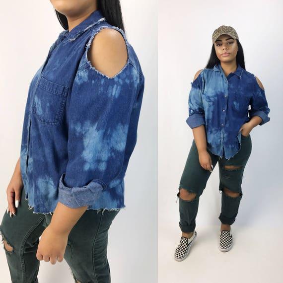 Remade Distressed Cut Out Denim Button Up - Large Womens Bleach Tie Dye Button Up Shirt - Dark Blue Wash Frayed Grunge Cold Shoulder Unique