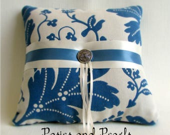 """Ivory and Blue Ring Bearer Pillow, Leaf Print, Cotton, Reversible Wedding Ring Cushion, """"Colonial Blue Oak"""""""