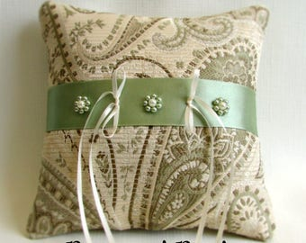 "Ivory, Tan, Light Green Ring Bearer Pillow, Brocade Paisley Print, Hand Beaded Flowers, Wedding Ring Cushion, ""Celadon Mist"""