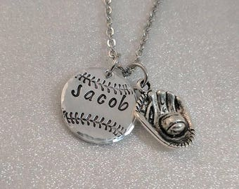 Baseball Necklace - Baseball Mom - Baseball Coach Gift - Team Mom Necklace - Personalized Baseball Necklace - Softball Necklace - Ballplayer