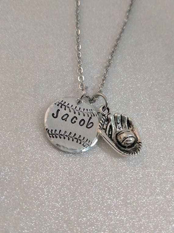 Baseball Necklace - Baseball Mom - Baseball Coach Gift - Team Mom Necklace - Personalized Baseball Necklace - Softball Necklace - Ballplayer