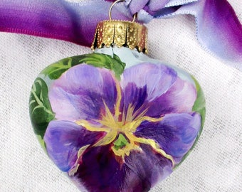 Pansy Heart Ornament ~ Handpainted Pansies ~ February Birthday ~ Shabby Ornament ~ Sweetheart Gift